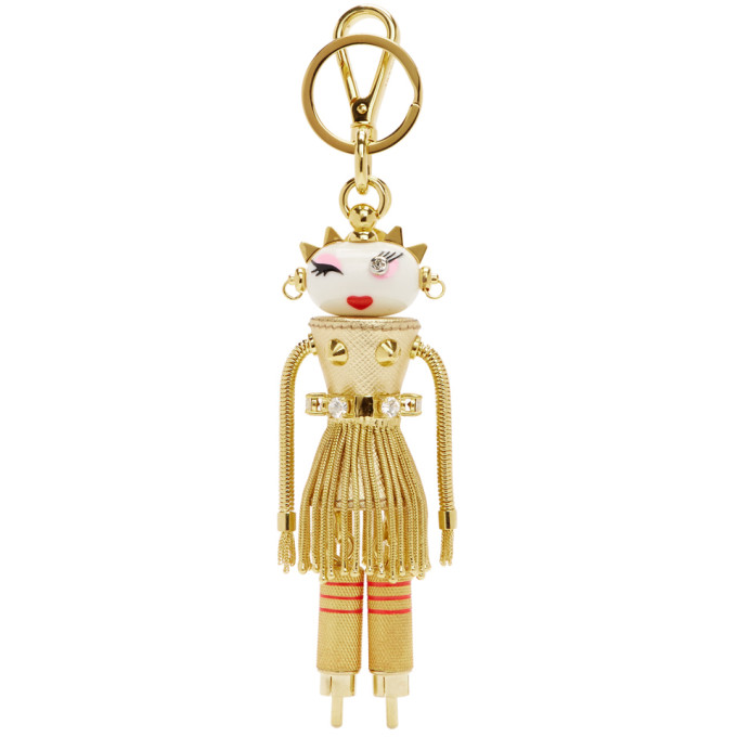 Gold Dahlia Girl Robot Keychain by Prada