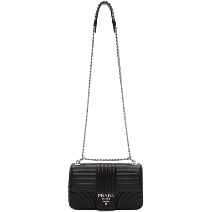 Black Large Quilted Chain Crossbody Bag by Prada