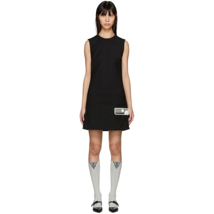 Mini Wrap Shift Dress in Black