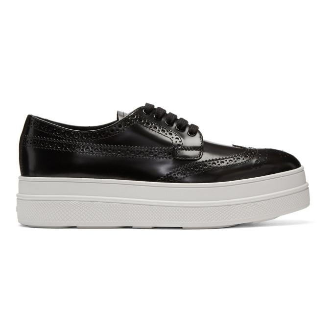 Prada Platform Lace-Up Shoes - Black