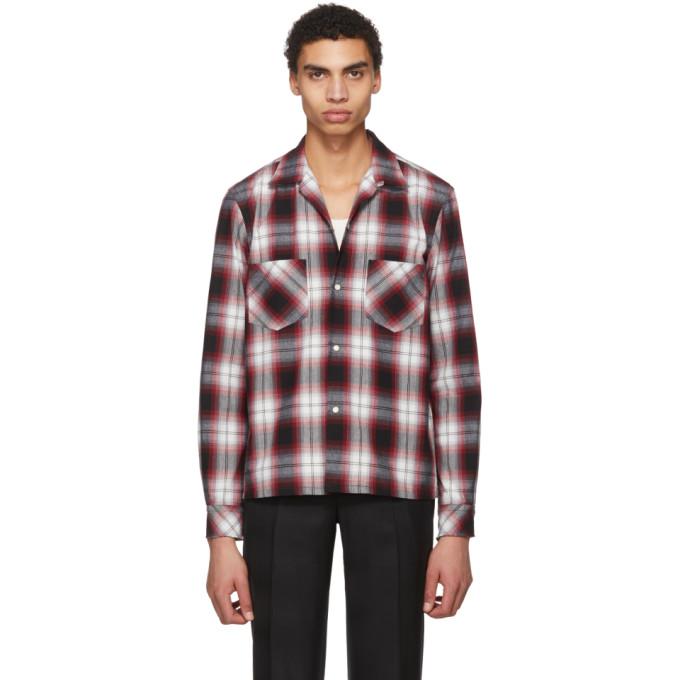 TAKAHIROMIYASHITA THE SOLOIST Camp-Collar Distressed Checked Cotton-Blend Flannel Shirt in 2Blkxred