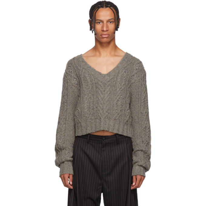 CHIN MENS Cropped-Pullover Mit Zopfmuster in Grey