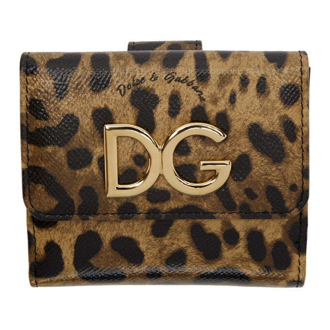 DOLCE AND GABBANA BLACK AND BROWN LEOPARD FRENCH WALLET