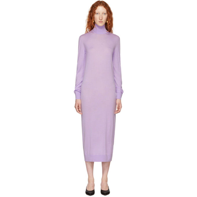 KWAIDAN EDITIONS PURPLE MERINO TURTLENECK DRESS