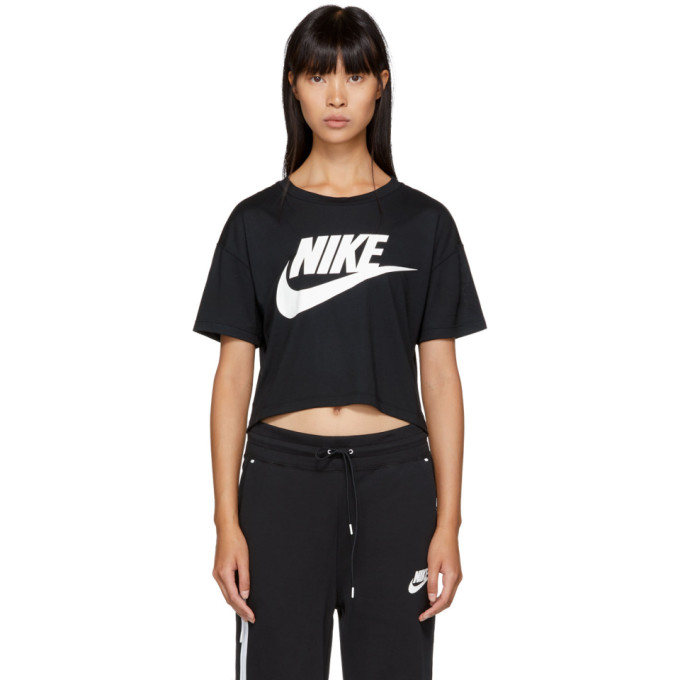 ef5dc75a6c Nike Black Essential Cropped T-Shirt In 010 Black