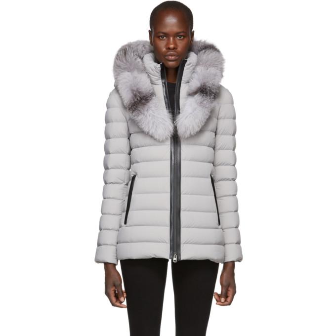 Kadalina-X Fox Fur Trim Light Down Coat, Mineral
