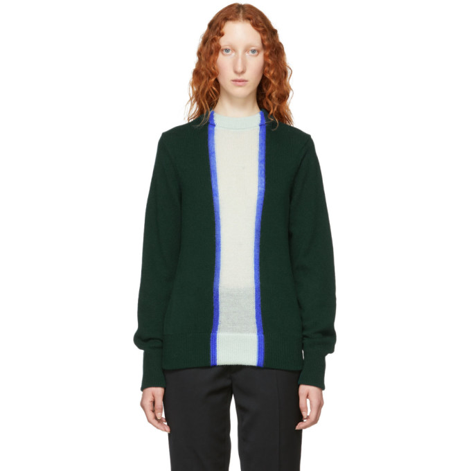 NAMACHEKO GREEN WOOL STRIPED CREWNECK SWEATER