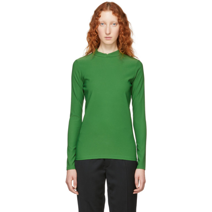 NAMACHEKO GREEN DOUBLE FACED MOCK NECK SWEATER