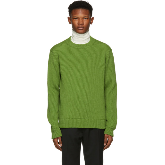 NAMACHEKO GREEN WOOL RIBBED CREWNECK SWEATER