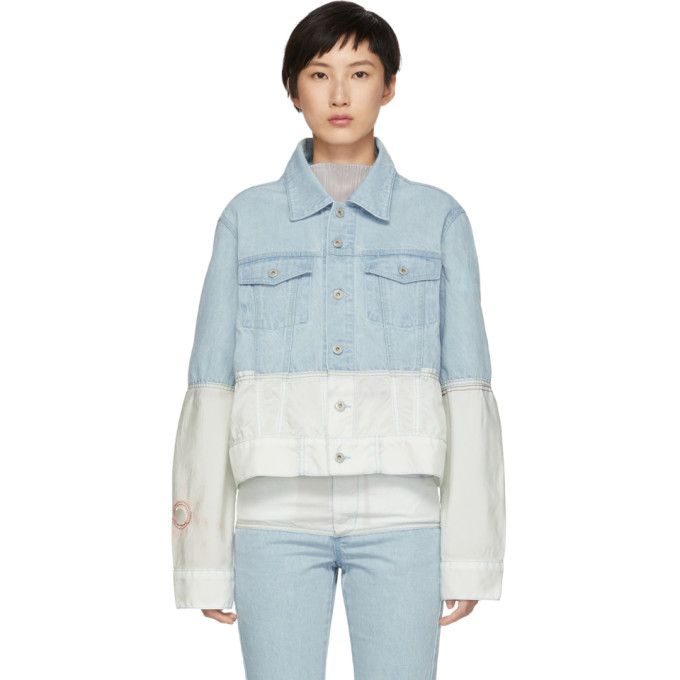 KANGHYUK Kanghyuk Blue And Off-White Airbag Denim Jacket in Skybl/Ofwht
