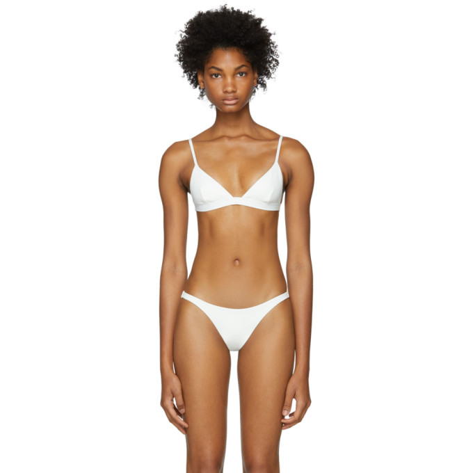 HER LINE Her Line White Ava Bikini Top in Milk White