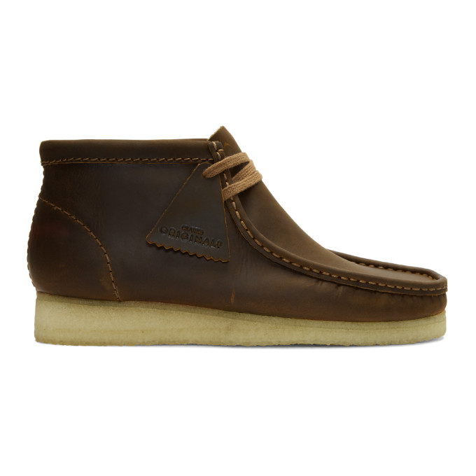 CLARKS ORIGINALS Clarks Originals Brown Leather Wallabee Boots in Beeswax