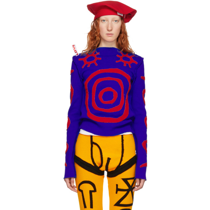 CHARLES JEFFREY LOVERBOY BLUE AND RED PYJAMA CREWNECK SWEATER