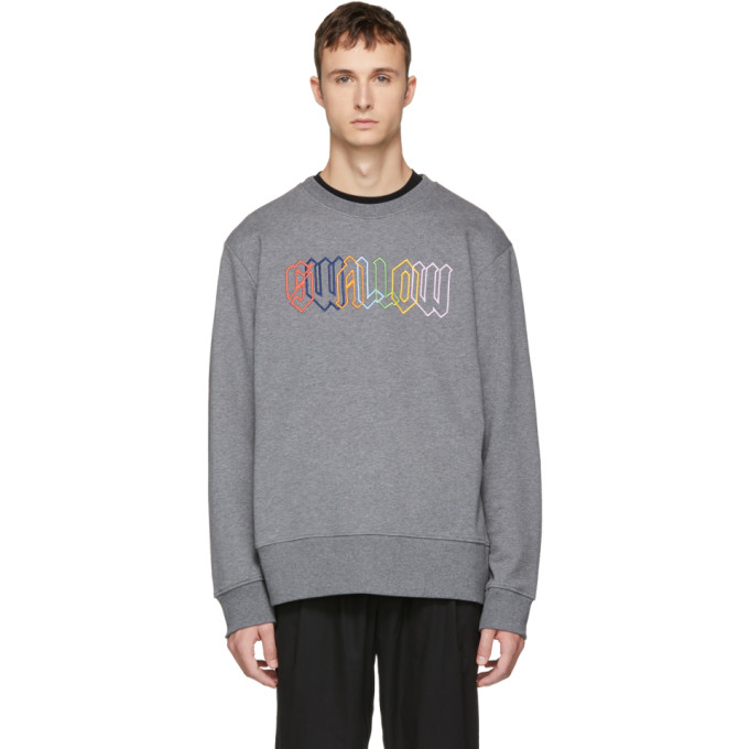 MCQ BY ALEXANDER MCQUEEN Grey Embroidered 'Swallow' Sweatshirt