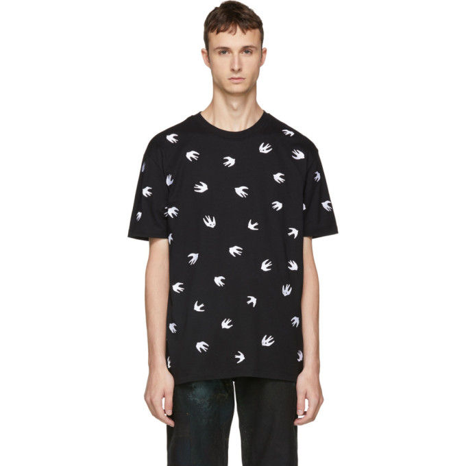MCQ BY ALEXANDER MCQUEEN Black Embroidered Swallow T-Shirt