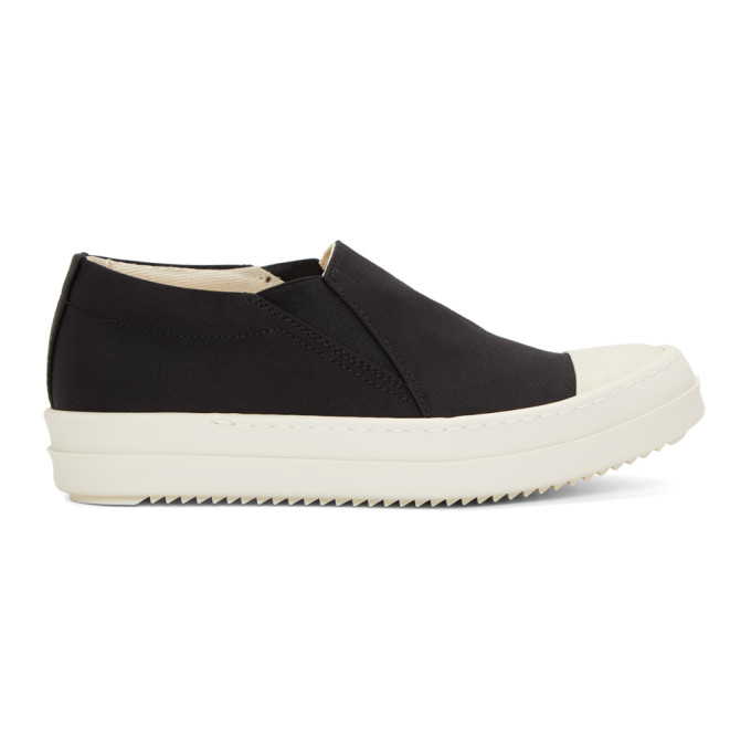 RICK OWENS DRKSHDW BLACK AND WHITE BOAT SNEAKERS