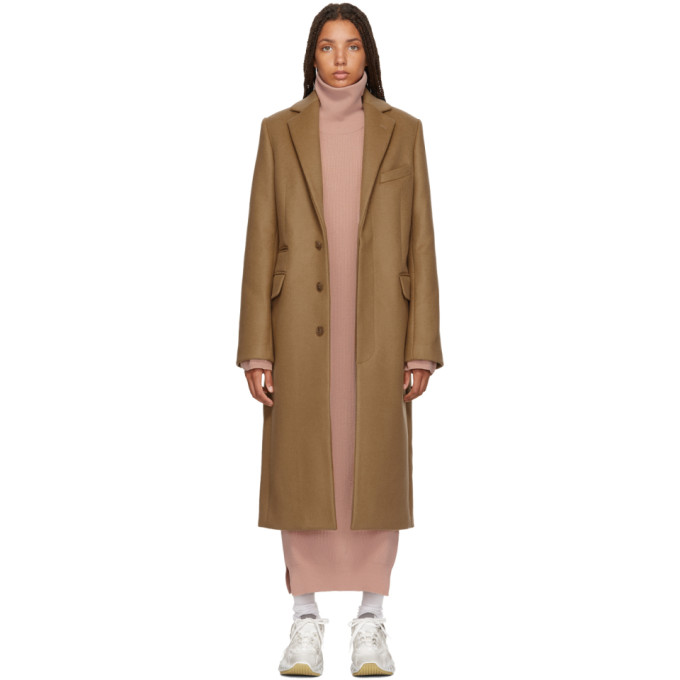 Acne Studios Tan Wool And Mohair Overcoat in Camel