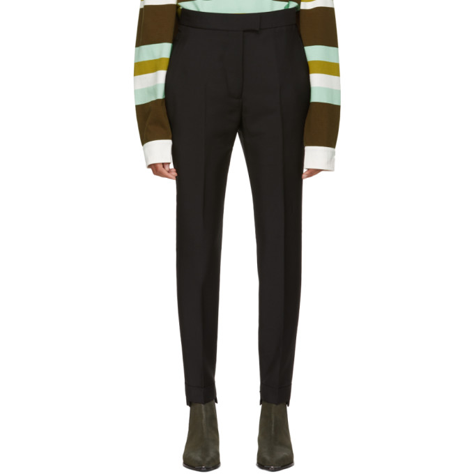 Black High-Waisted Cuffed Trousers from SSENSE