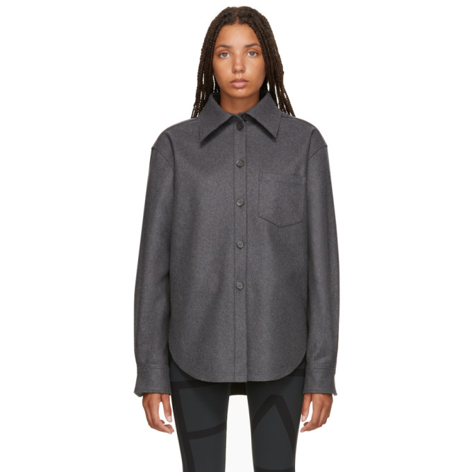 Grey Wool & Cashmere Flannel Shirt from SSENSE