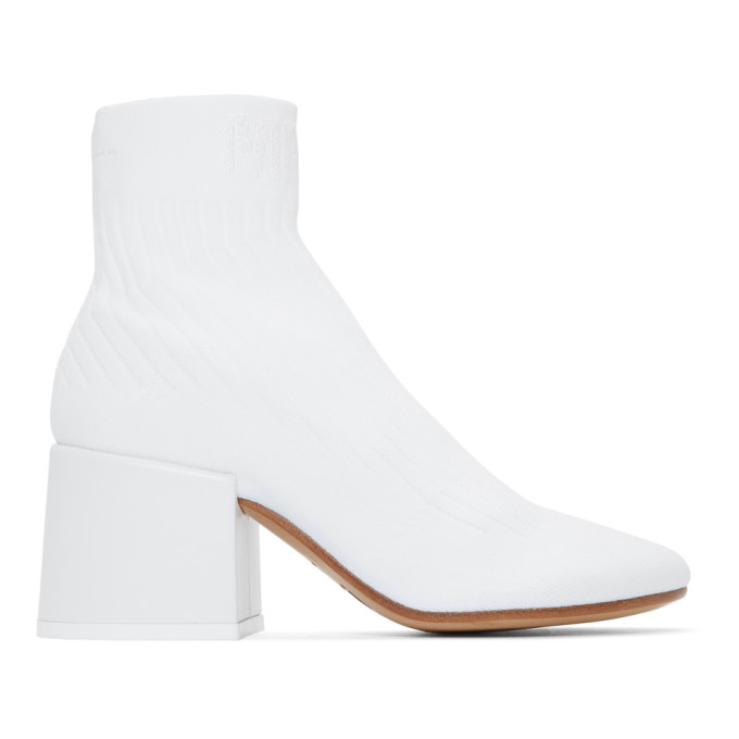 MM6 MAISON MARTIN MARGIELA WHITE SOCK ANKLE BOOTS