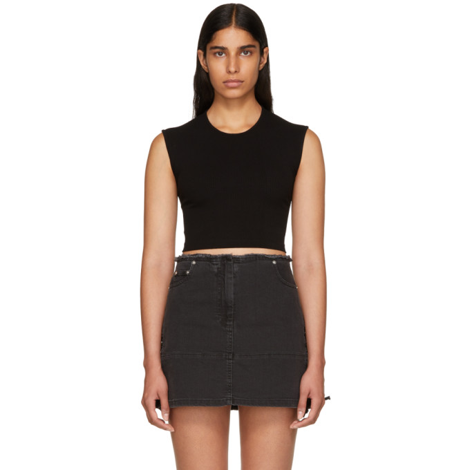 Alexanderwang.T Black Compact Rib Cut-Out T-Shirt