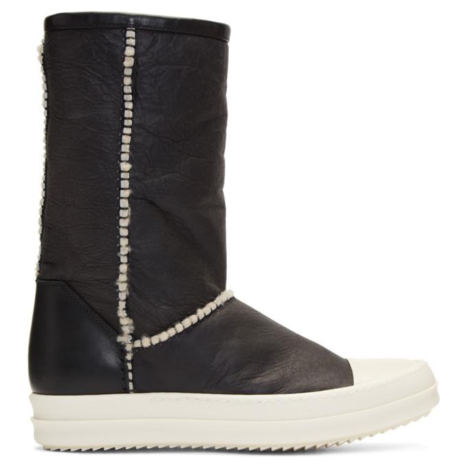 Rick Owens Wool Trim Boots - Black