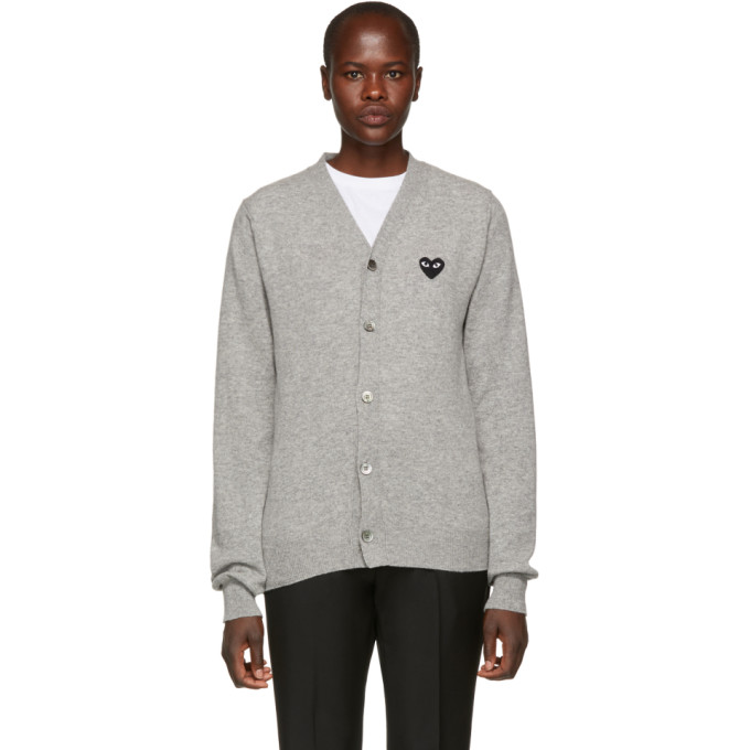 COMME DES GARCONS PLAY GREY WOOL HEART PATCH CARDIGAN