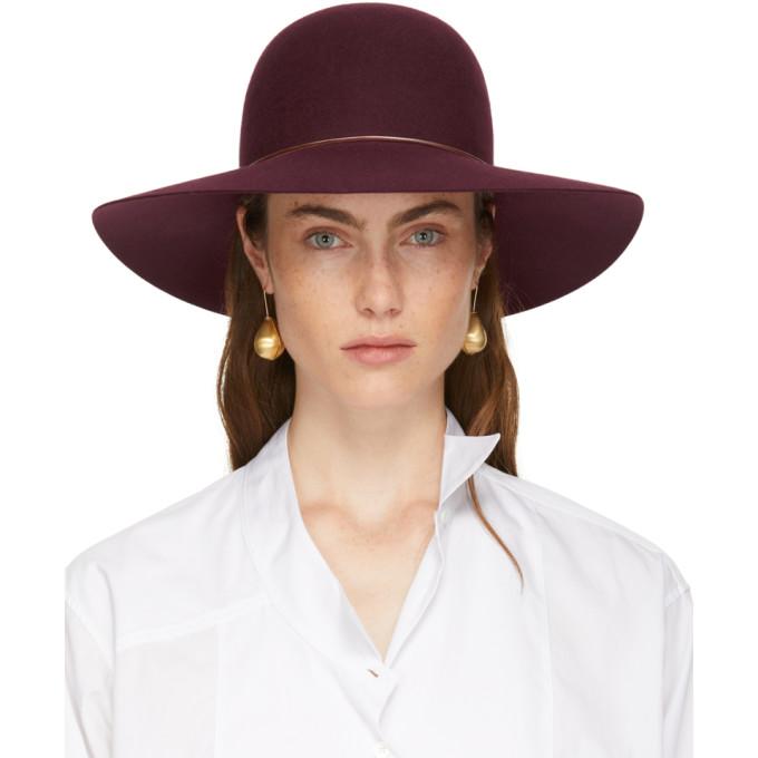 LANVIN BURGUNDY CAPELINE HAT