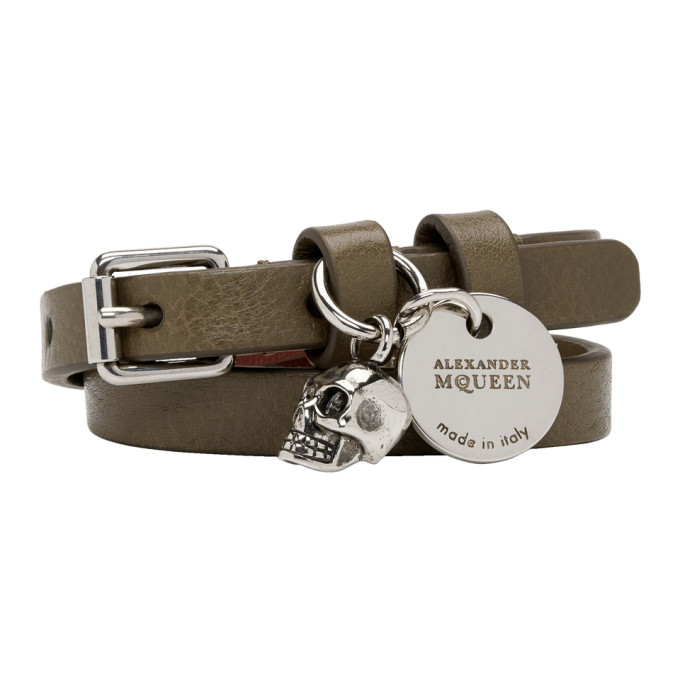 ALEXANDER MCQUEEN Green & Silver Double Wrap Bracelet