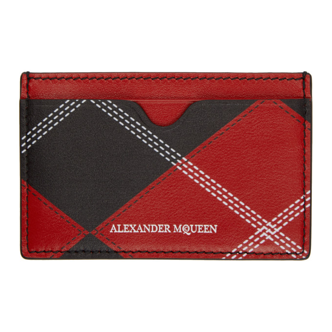 ALEXANDER MCQUEEN Red & Black Argyle Card Holder