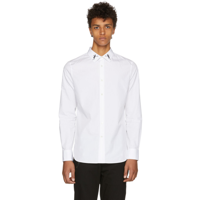 ALEXANDER MCQUEEN White Organic Embroidered Collar Shirt