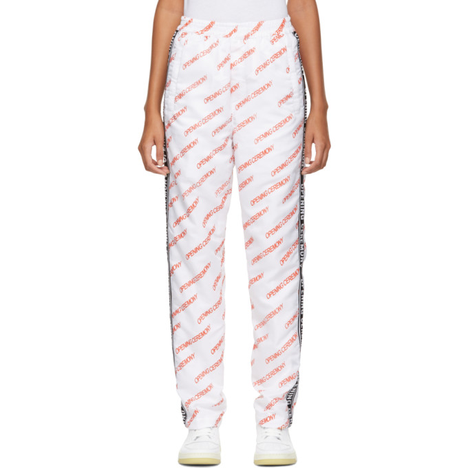 White All Over Logo Warm Up Lounge Pants