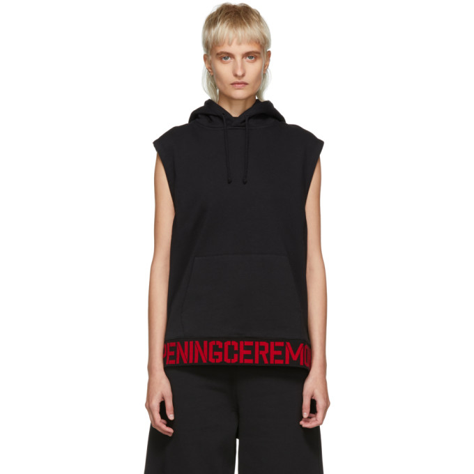 Sleeveless Cotton Logo Hoodie Vest in Black