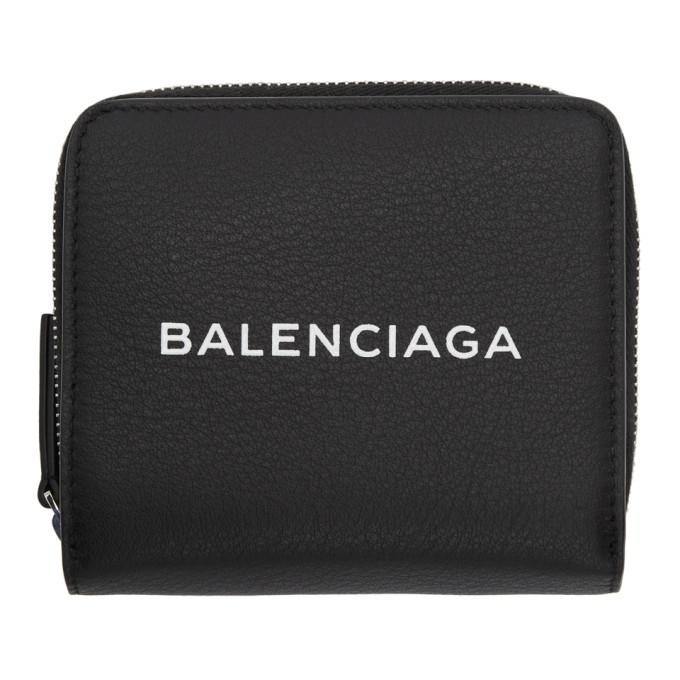 Balenciaga Black Baltimore Logo Billfold Wallet in 1000 Blk/Wh