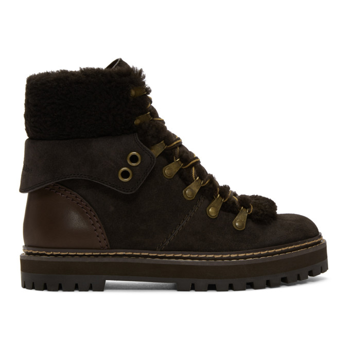 SEE BY CHLOE GREY AND BROWN EILEEN LACE-UP BOOTS