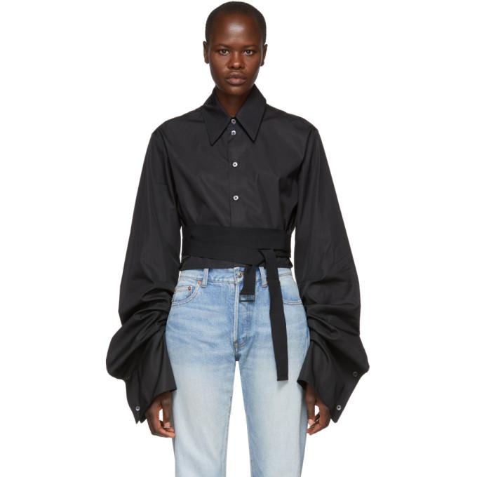 ANN DEMEULEMEESTER Ann Demeulemeester Black Cropped Byron Shirt