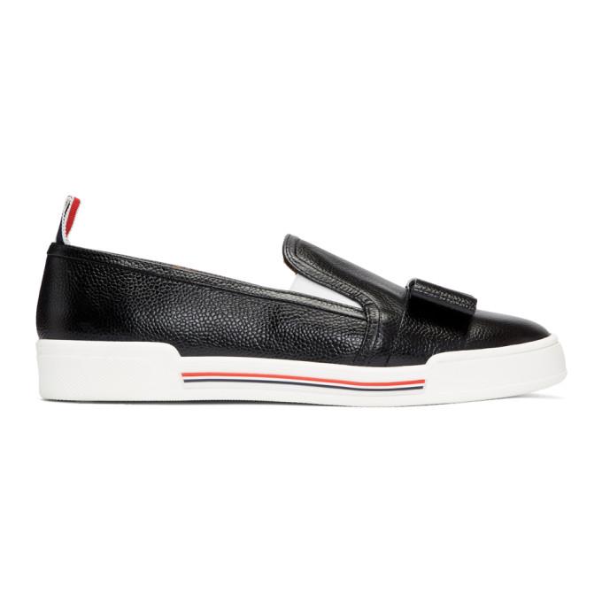 Thom Browne Leather Bow Pebble Grain Slip-On - Black, 001 Black