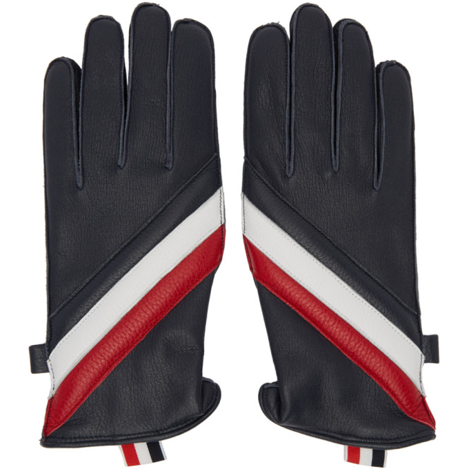 Thom Browne Quilted Deerskin Leather Glove In 960rwbwht