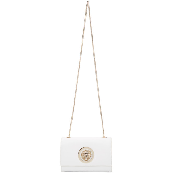 Versus White Lion Chain Wallet Bag, F030H White