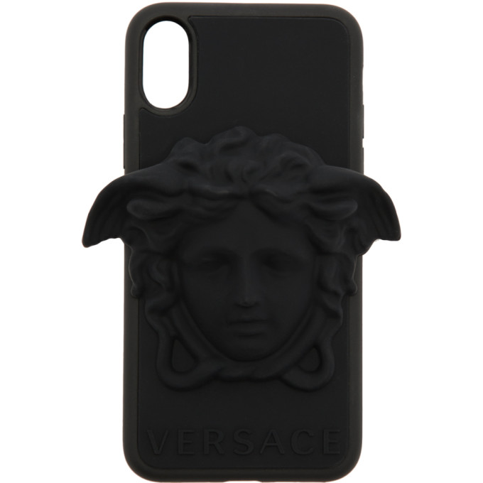 Medusa Embossed I-Phone X Case in D41 Black