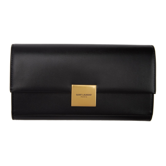 SAINT LAURENT BLACK LARGE BELLECHASSE FLAP WALLET
