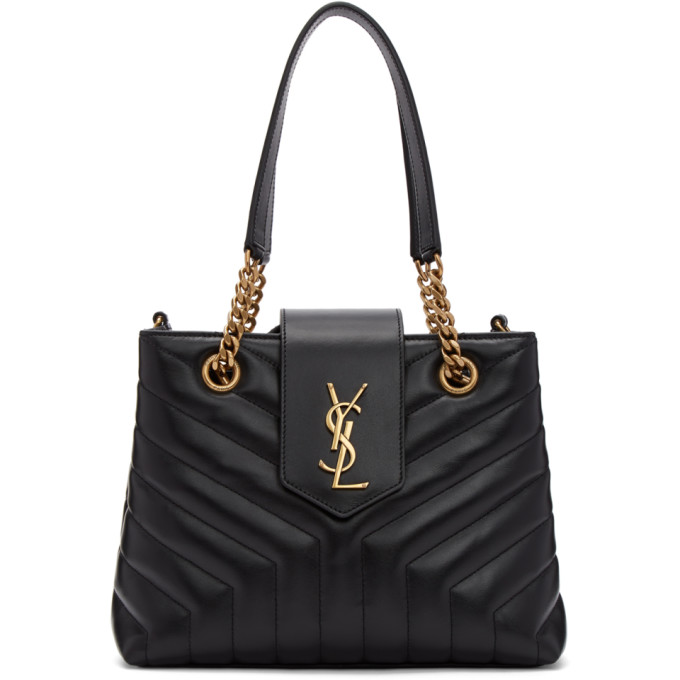 SAINT LAURENT BLACK SMALL LOULOU MONOGRAMME TOTE