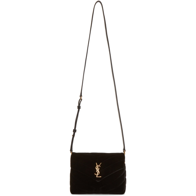 SAINT LAURENT Black Velvet Toy Loulou Strap Bag