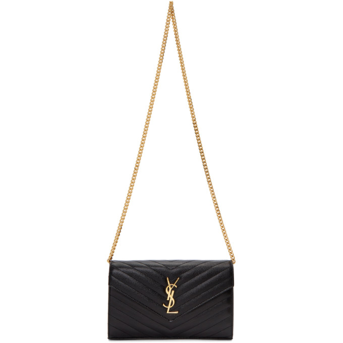 SAINT LAURENT BLACK MEDIUM WALLET SHOULDER BAG