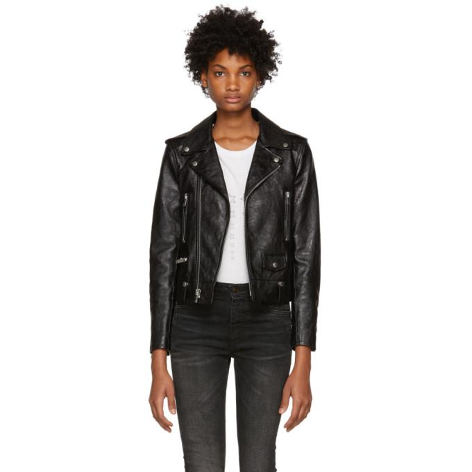 Saint Laurent Black Classic Leather Motorcycle Jacket In 1000 Black