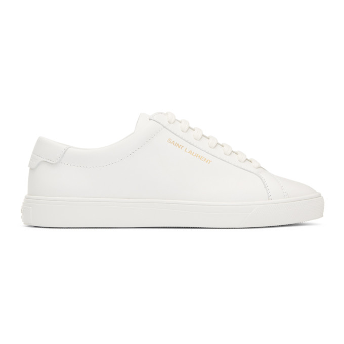 SAINT LAURENT WHITE LACE-UP SNEAKERS