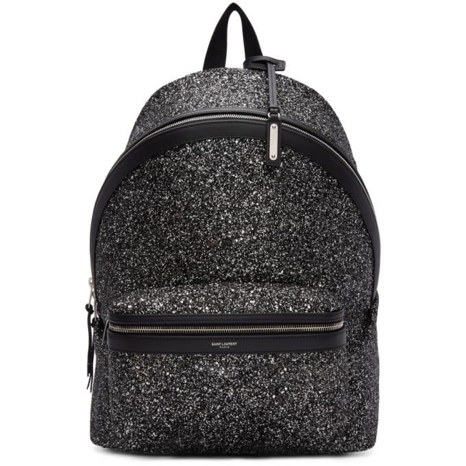 SAINT LAURENT Men'S City Glitter Backpack in 1286 Black