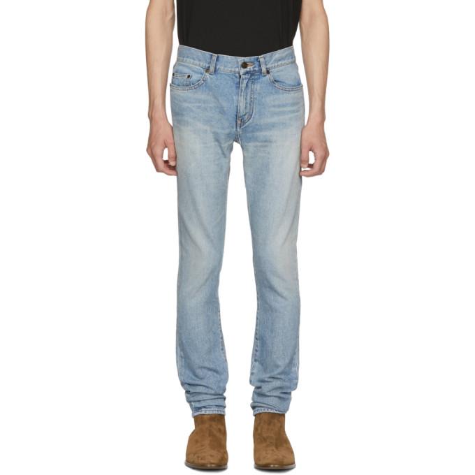 SAINT LAURENT Blue Worn Low-Rise Skinny Jeans