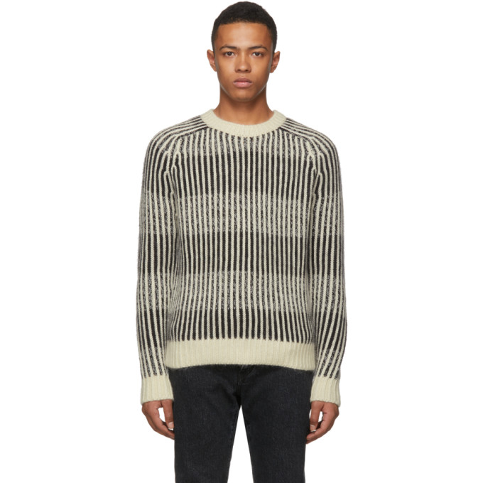 SAINT LAURENT Jacquard Stripe Knit Pullover With Wool, Alpaca And Mohair, 1095 Black