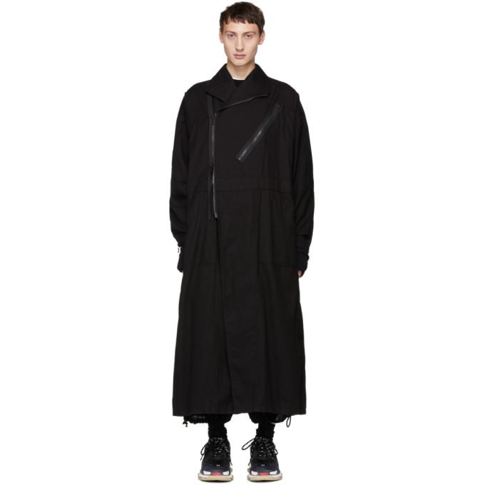 JULIUS Zipped Coat  in Black